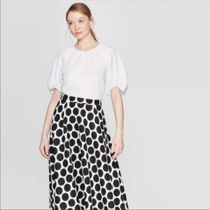 Who What Wear Puff Sleeve White Blouse
